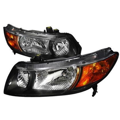 2006-2011 Honda Civic Coupe Black Housing JDM Style Headlights