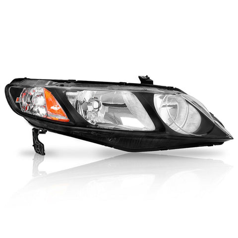 2006-2011 Honda Civic Sedan Black Housing JDM Style Headlights