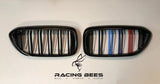 2017-2019 BMW G30 5 Series M Style Tri-Colour Kidney Grilles
