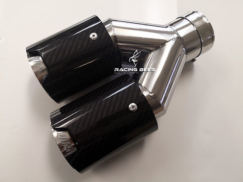 BMW Universal Carbon Fiber M-Performance Stainless Steel - Dual Exhaust Tip 1 Pair