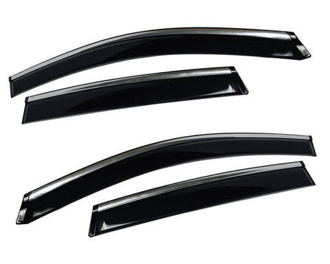 Window Visor with Chrome Trim for 2013-2015 Hyundai Santa Fe