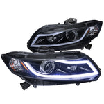 2012-2015 Honda Civic Black Housing Projector Style Headlights