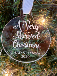 A Very Married Christmas - Personalized Engraved Acrylic Newlywed Ornament - Sunny Box