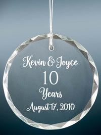10th Anniversary Engraved Crystal Ornament - Sunny Box