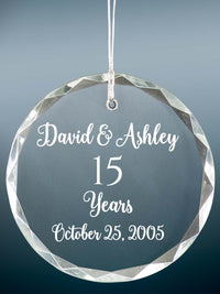 15th Anniversary Engraved Crystal Ornament - Sunny Box