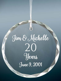 20th Anniversary Engraved Crystal Ornament - Sunny Box
