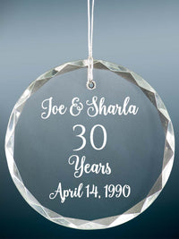 30th Anniversary Engraved Crystal Ornament - Sunny Box