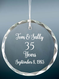 35th Anniversary Engraved Crystal Ornament - Sunny Box