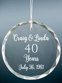 40th Anniversary Engraved Crystal Ornament - Sunny Box