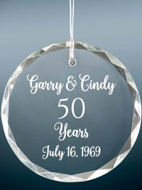 50th Anniversary Engraved Crystal Ornament - Sunny Box