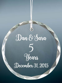 5th Anniversary Engraved Crystal Ornament - Sunny Box