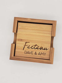 Personalized Engraved Bamboo Coaster Set - Wedding or Housewarming Gift - Sunny Box