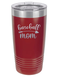 Baseball Mom - Engraved 20oz Maroon Polar Camel Tumbler - Sunny Box