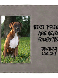 Best Friends Are Never Forgotten - Pet Memorial Personalized Leatherette Frame Gray - Sunny Box