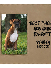 Best Friends Are Never Forgotten - Pet Memorial Personalized Leatherette Frame Light Brown - Sunny Box
