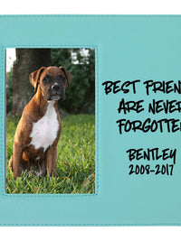 Best Friends Are Never Forgotten - Pet Memorial Personalized Leatherette Frame Teal - Sunny Box