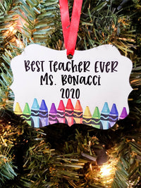 Best Teacher Ever - Personalized Ornament - Sunny Box