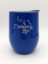 Camping Life Engraved Wine Tumbler - 9oz - Blue - Sunny Box