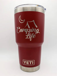 Camping Life Engraved Tumbler YETI 30oz Brick Red