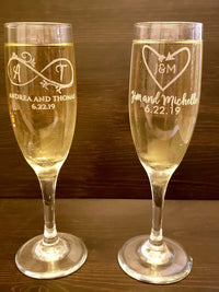 Engraved Champagne Flute Glass Wedding and Bridal Party Gifts by Sunny Box