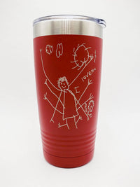 Child's Drawing / Handwriting Engraved 20oz Polar Camel Tumbler Red by Sunny Box