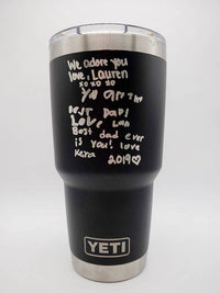 Engraved Handwriting on YETI