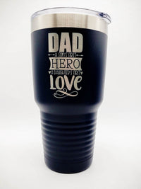 Dad A Sons First Hero A Daughters First Love - Engraved Polar Camel Tumbler 30oz Navy by Sunny Box