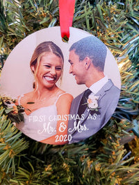 First Christmas as Mr. & Mrs. Personalized Photo Ornament - Christmas Gift - Sunny Box