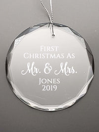 First Christmas As Mr. & Mrs. - Engraved Crystal Ornament by Sunny Box
