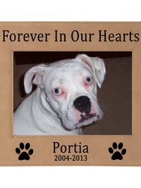 Forever In Our Hearts - Pet Memorial Personalized Leatherette Frame - Sunny Box