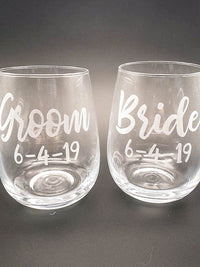 Bride & Groom Engraved Stemless Wine Glass Set - Sunny Box