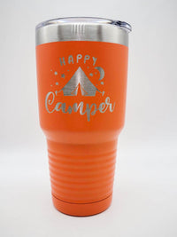 Happy Camper - Engraved 30oz Polar Camel Orange Tumbler - Sunny Box