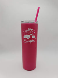 Happy Camper - RV Camping - Engraved Skinny Tumbler - Pink 20oz - Creatively Crowned Engraving