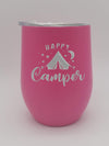 Happy Camper Tent Camping - Engraved Wine Tumbler - Pink 9oz - Creatively Crowned Engraving