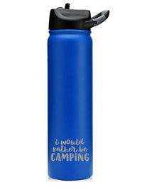 I Would Rather Be Camping - Engraved 27oz SIC Water Bottle - Blue Matte - Sunny Box
