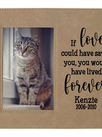 If love could have saved you - custom pet memorial leatherette frame light brown - Sunny Box