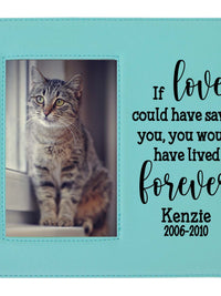 If love could have saved you - custom pet memorial leatherette frame teal - Sunny Box