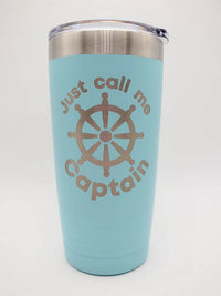 Just Call Me Captain - Engraved 20oz Light Blue Polar Camel Tumbler - Sunny Box
