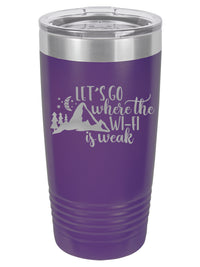 Let's Go Where the Wifi is Weak - Engraved 20oz Polar Camel Tumbler - Purple - Creatively Crowned Engraving