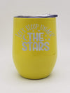 Let's Sleep Under the Stars - Engraved 9oz Wine Tumbler - Yellow - Creatively Crowned Engraving