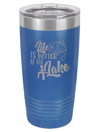 Life is Better at the Lake Fishing - Engraved Polar Camel Tumbler - 20oz Blue - Creatively Crowned Engraving
