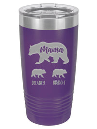 Mama Bear with Cubs Engraved Polar Camel Tumbler - 20oz Purple - Sunny Box