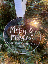 Merry & Married - Personalized Engraved Acrylic Ornament - Sunny Box