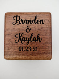 Personalized Engraved Walnut Wood Ring Box - Sunny Box