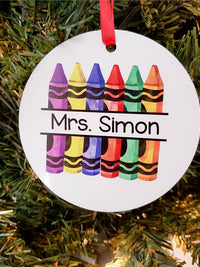 Personalized Teacher Crayon Ornament - Sunny Box