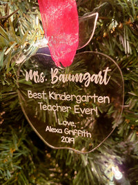 Personalized Engraved Teacher Ornament Acrylic - Sunny BOx