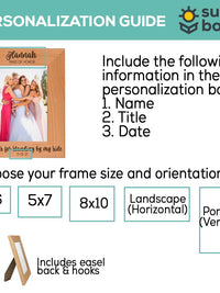 Thanks for Standing By My Side - Bridesmaid / Maid of Honor Wood Picture Frame
