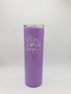 The Best Days are Spent Camping - Engraved 20oz Skinny Tumbler - Purple - Creatively Crowned Engraving