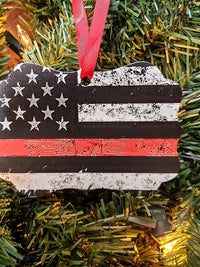 Thin Red Line Flag Firefighter First Responder Ornament by Sunny Box