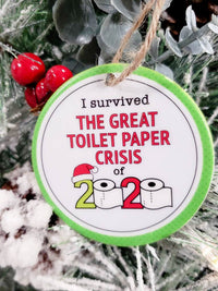 2020 Pandemic Toilet Paper Crisis Personalized Ceramic Ornament - Sunny Box